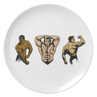 Equipo del músculo - pegue una actitud plato