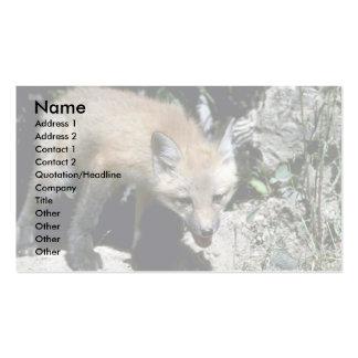 Equipo Fox-joven rojo que emerge de guarida del ve Tarjetas De Visita