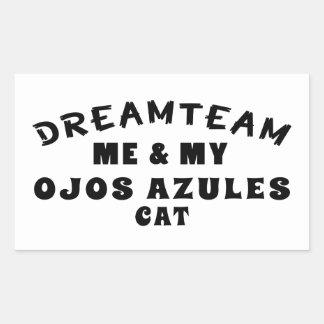 Equipo ideal yo y mi gato de Ojos Azules Rectangular Pegatinas