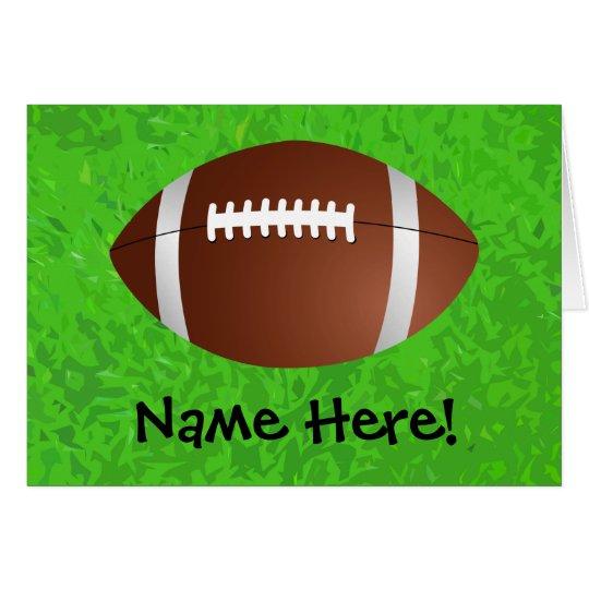 Equipo universitario del joven del campo de fútbol tarjeta pequeña