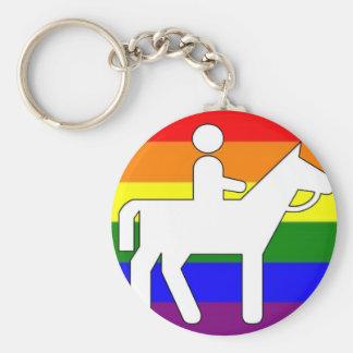 Equitación del orgullo de GLBT Llavero Redondo Tipo Chapa