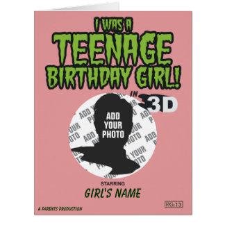 ¡Era un chica adolescente del cumpleaños! Tarjeta De Felicitación Grande