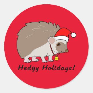 Erizo con el gorra de Santa: Días de fiesta de Pegatina Redonda