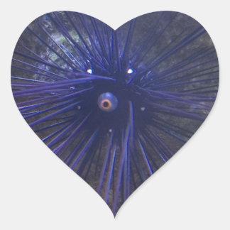Erizo de mar negro y azul pegatina en forma de corazón