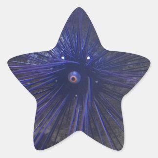 Erizo de mar negro y azul pegatina en forma de estrella