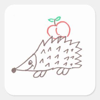 Erizo dulce con manzana pegatina