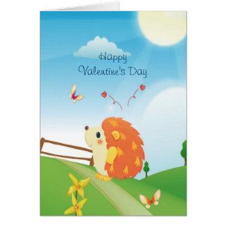 Erizo lindo del amor con día soleado de la tarjeta de felicitación