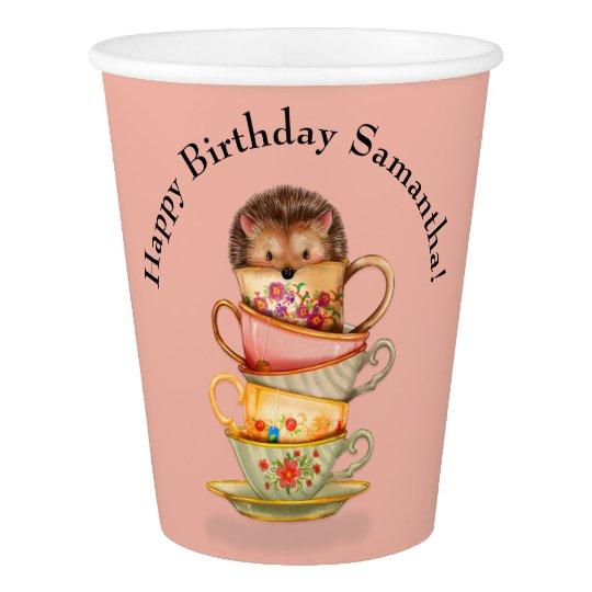 Erizo lindo y fiesta de cumpleaños colorida de las vaso de papel