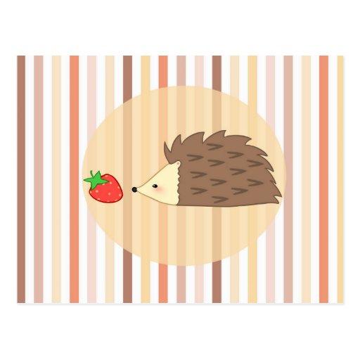 Erizo y fresa tarjetas postales