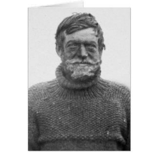 Ernesto Shackleton en tarjeta antártica con cita