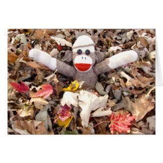 Ernie la pila del mono del calcetín de tarjeta de