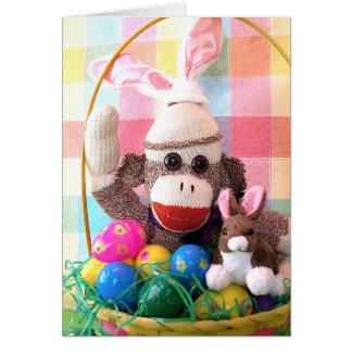 Ernie la tarjeta de la cesta de Pascua del mono