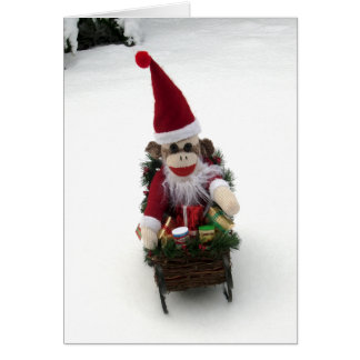 Ernie la tarjeta de Navidad de Santa del mono del