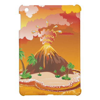 Erupción del volcán del dibujo animado