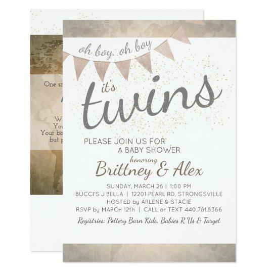 ¡Es gemelos! Invitación de la fiesta de bienvenida