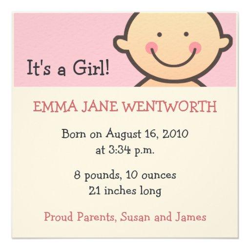 Es invitaciones de un nacimiento del chica anuncios
