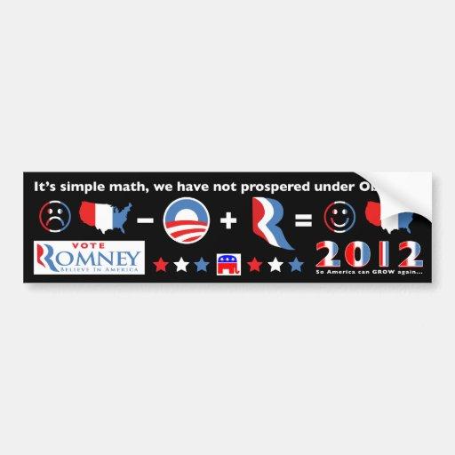 Es matemáticas simple….Voto Romney 2012 Pegatina De Parachoque