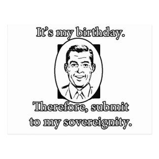 Es mi cumpleaños: Someta a mí al hombre del vintag Postal