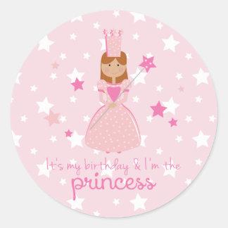 Es mi cumpleaños y soy la princesa pegatina redonda