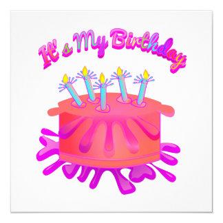 Es mi torta de cumpleaños del B-Día invita Invitación 13,3 Cm X 13,3cm