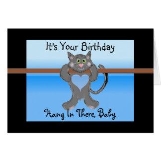 Es su gato divertido del cumpleaños tarjeta de felicitación
