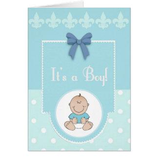 Es tarjeta del bebé de la enhorabuena del muchacho