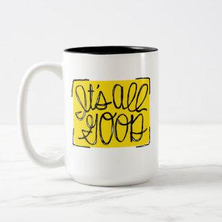 Es todo el buen tipográfico amarillo y negro taza de café de dos colores