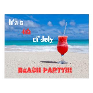 Es un 4to del fiesta de la playa de julio postal