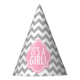 Es un chica Chevron gris y rosa Gorro De Fiesta