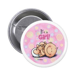 ¡Es un chica - enhorabuena del bebé! botón Pins