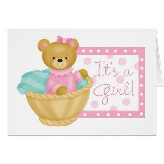 Es un chica - oso de peluche tarjeta de felicitación