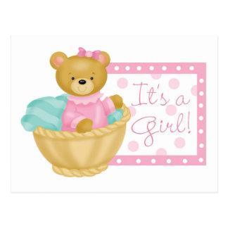 Es un chica - oso de peluche postal