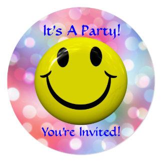 ¡Es un fiesta! Invitación feliz de la cara Invitación 13,3 Cm X 13,3cm