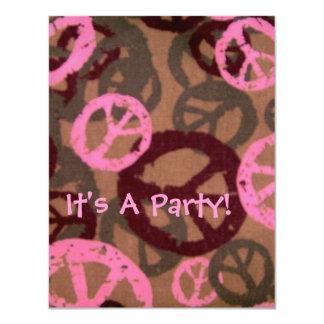 ¡Es un fiesta! - Los signos de la paz Invitación 10,8 X 13,9 Cm