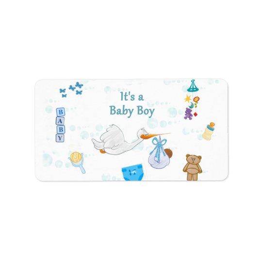 Es un muchacho - fiesta de bienvenida al bebé etiquetas de dirección