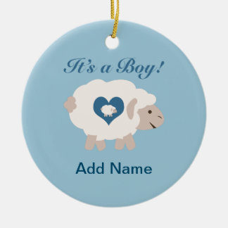 ¡Es un muchacho! Mamá Sheep Adorno Navideño Redondo De Cerámica