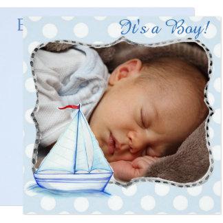 Es un muchacho, nacimiento Announcment del barco Invitación 13,3 Cm X 13,3cm