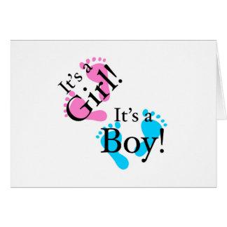 Es un muchacho que es un chica - bebé recién nacid tarjetón