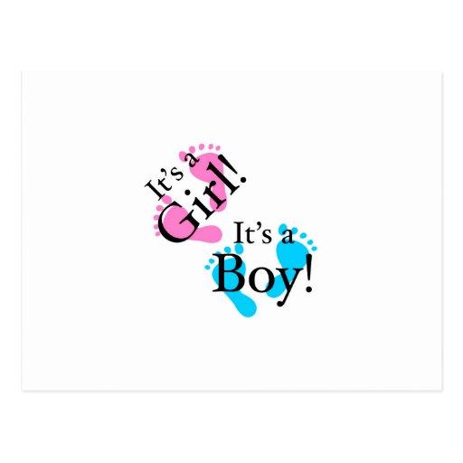 Es un muchacho que es un chica - bebé recién nacid tarjeta postal