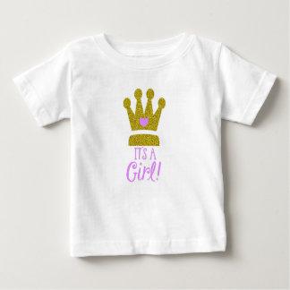 Es una camiseta del bebé de la tiara del oro del