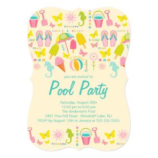 Es una invitación de la fiesta en la piscina de la