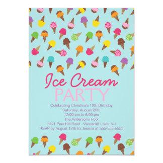 Es una invitación del fiesta del helado del verano invitación 12,7 x 17,8 cm