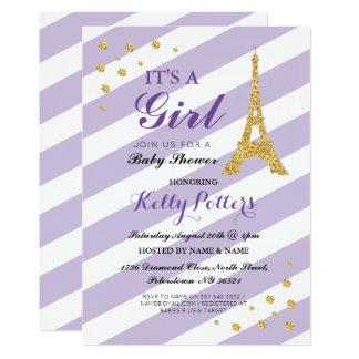 Es una raya púrpura de la torre Eiffel de la Invitación 12,7 X 17,8 Cm