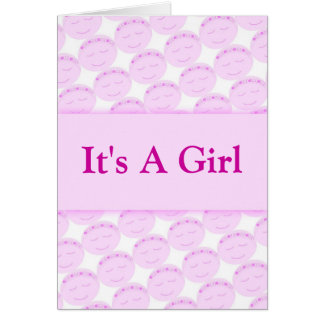 Es una tarjeta de cara feliz del chica
