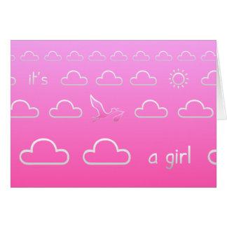 Es una tarjeta del nacimiento del chica