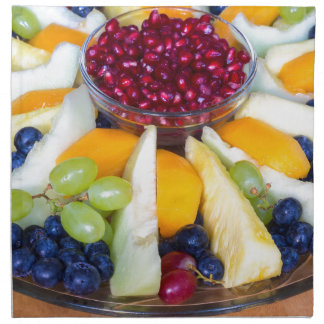 Escala de cristal por completo de diversas frutas servilleta de tela