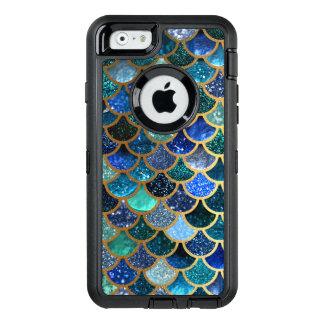 Escalas azules de la sirena del trullo del brillo funda OtterBox defender para iPhone 6