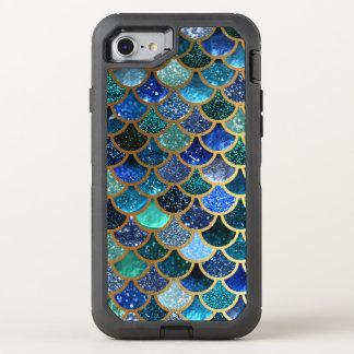 Escalas azules de la sirena del trullo del brillo funda OtterBox defender para iPhone 8/7