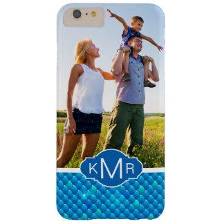 Escalas de pescados azules de neón del monograma funda barely there iPhone 6 plus