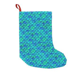 Escalas del azul de la aguamarina de Falln Calcetín De Navidad Pequeño